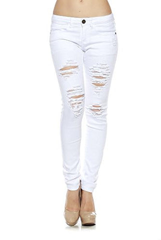 Juniors Sexy Mid Waist Distressed Denim Long Denim 5 PKT Pants - Fashion Sense - 1
