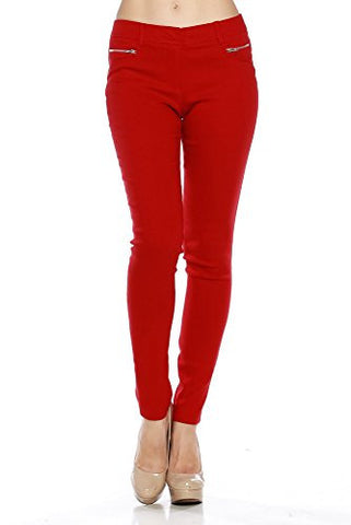 Stretchy Millenium Woven Front Zip Skinny Trouser Pants - Fashion Sense - 1