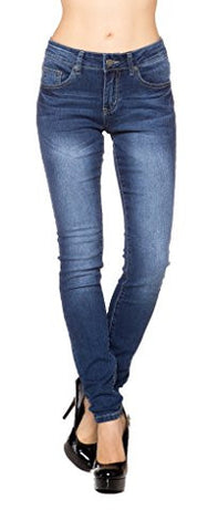 Sexy Mid Waist Dark Whisk Wash Classic 5PKT Denim Long Jean Pants(Juniors) - Fashion Sense - 1