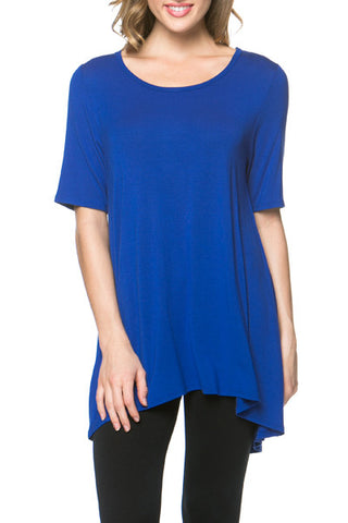 Azules Open Back Rayon Jersey Loose Fit  Top - Fashion Sense - 1