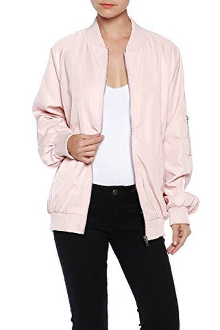 Womens High Quality Classic Zip Up Bomber Jacket with Pockets - Fashion Sense - 1