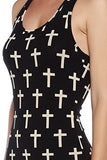 Sexy Womens Bodycon Cross Print Bodysuit - Fashion Sense - 5