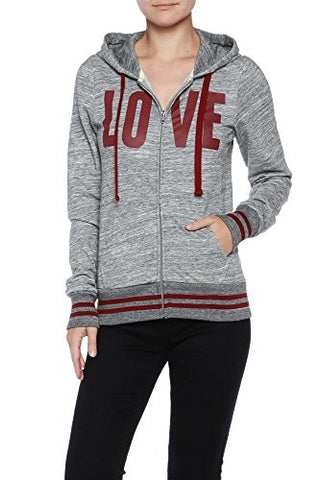 "Active 2-Tone Terry ""Love"" Print Hoodie - Fashion Sense - 17"