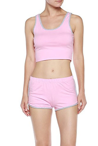 Active Contrast Trim Crop Tank Top/ Shorts Set - Fashion Sense - 1