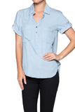 Denim Short Sleeves Shirt - Fashion Sense - 1