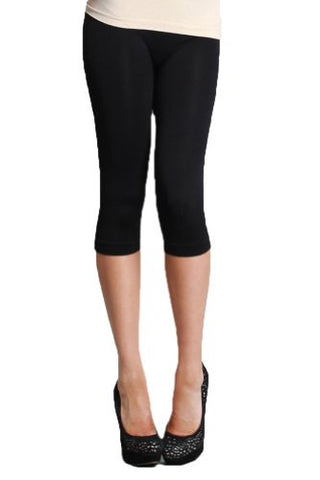Nikibiki Womens Basic Thick Nylon Jersey Capri Leggings - Fashion Sense - 3