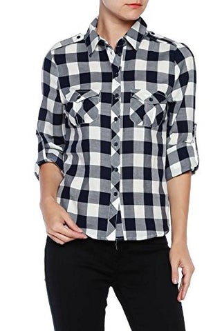 Plaid Flannel Print Long Sleeve Adjustable Top - Fashion Sense - 1