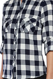 Plaid Flannel Print Long Sleeve Adjustable Top - Fashion Sense - 5