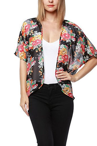 Women's Floral Print Sheer Chiffon Loose Kimono Cardigan - Fashion Sense - 1