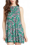 A-Line Paisley Print Sleeveless Crewneck Midi Dress - Fashion Sense - 1