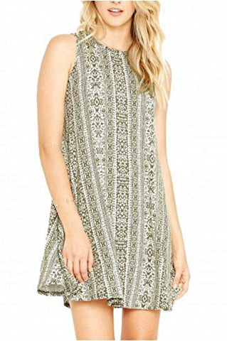 A-Line Tribal Print Sleeveless Crewneck Midi Dress - Fashion Sense - 1