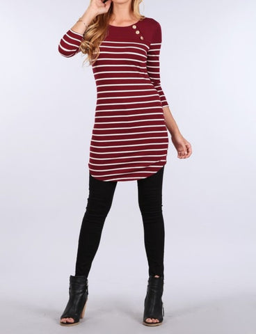 Woman's Boat Neck 3/4 Sleeve Basic Striped Dress - Fashion Sense - 6