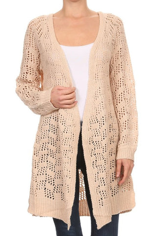 Crochet Cable Knit Open Front Cardigan