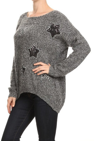 Casual Knit Sweater With Star Detail - Fashion Sense - 1