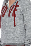"Active 2-Tone Terry ""Love"" Print Hoodie - Fashion Sense - 22"