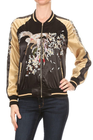 Lightweight Satin Bird Embroidery Bomber Jacket - Fashion Sense - 6