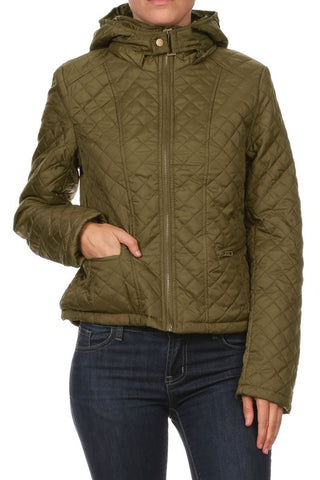 Faux Fur Inside Quilted Jacket With Hood - Fashion Sense - 1