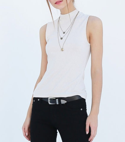 Ribbed Sleeveless Mock Neck Top
