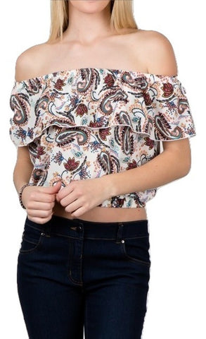 Women's Strapless Ruffles Off Shoulder Crop Tops Blouse