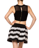 Metalic Contrast Skater High Waist Flared Mini Skirt - Fashion Sense - 3