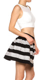 Metalic Contrast Skater High Waist Flared Mini Skirt - Fashion Sense - 2