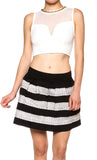 Metalic Contrast Skater High Waist Flared Mini Skirt - Fashion Sense - 1
