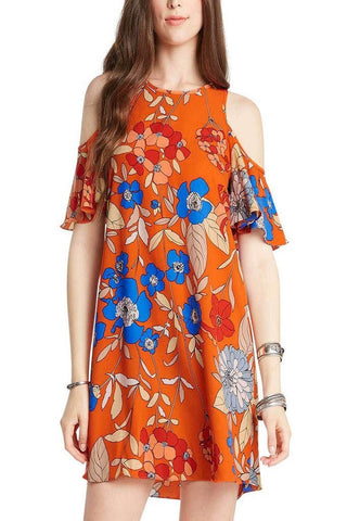 All Over Floral Print Womens Open Shoulder Dress - Fashion Sense - 1