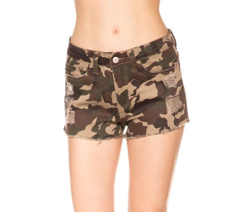 Camouflage Print High Waisted Sexy Denim Shorts - Fashion Sense - 1