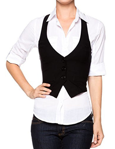 Juniors Stretchy Bengaline Fitted Racer Back Classic Vest Shirts - Fashion Sense - 1