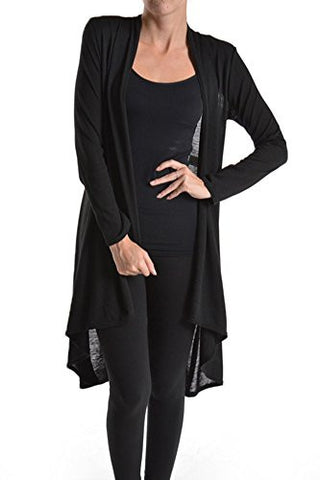 Solid Hacci Sweater Knit Jersey Draped Open Front Long Sleeve Cardigan - Fashion Sense - 1