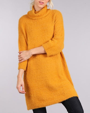Womens Cowl Neck  3/4th Sleeve Sweater Dress - Fashion Sense - 1