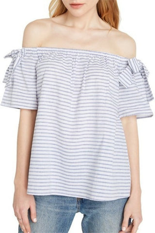 Womens Off The Shoulder Top With Bow Detail Sleeves
