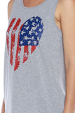American Flag Heart Print Crew Neck Muscle Tee - Fashion Sense - 15