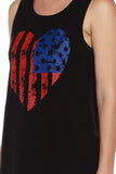 American Flag Heart Print Crew Neck Muscle Tee - Fashion Sense - 4