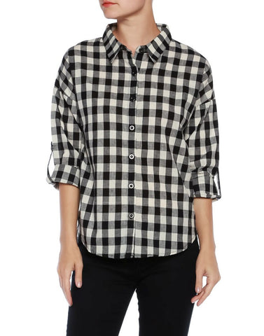 Plaid Button Down Long Sleeve Shirt - Fashion Sense - 1