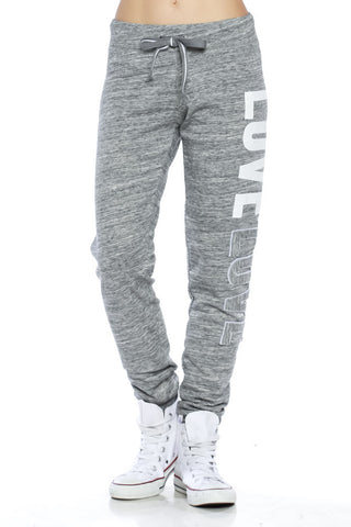 "Trendy 2-Tone ""Love"" Terry Webbing Jogger Pants - Fashion Sense - 1"