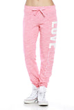 "Trendy 2-Tone ""Love"" Terry Webbing Jogger Pants - Fashion Sense - 6"