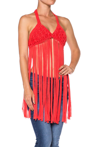 Crochet  Fringe Halter Top - Fashion Sense - 1