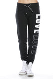 "Trendy 2-Tone ""Love"" Terry Webbing Jogger Pants - Fashion Sense - 10"