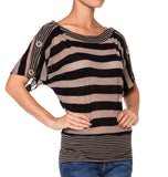Womens Stripe Rayon Jersey Blouse - Fashion Sense - 1