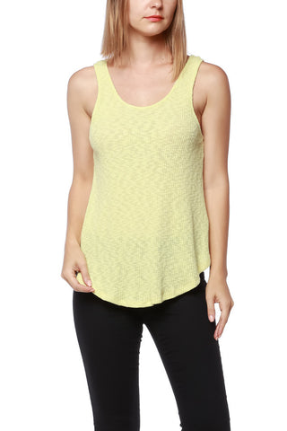 Yellow Ribbed Open Back Tank Top - Fashion Sense - 1