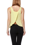 Yellow Ribbed Open Back Tank Top - Fashion Sense - 4