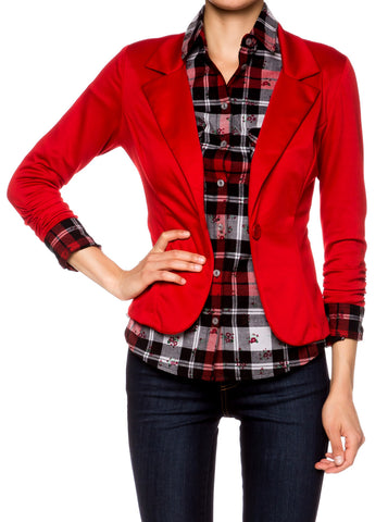 Casual 3/4 Sleeve Fitted Blazer - Fashion Sense - 1