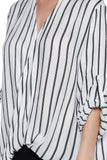 Black Front-Twisted Baggy Striped Top - Fashion Sense - 6