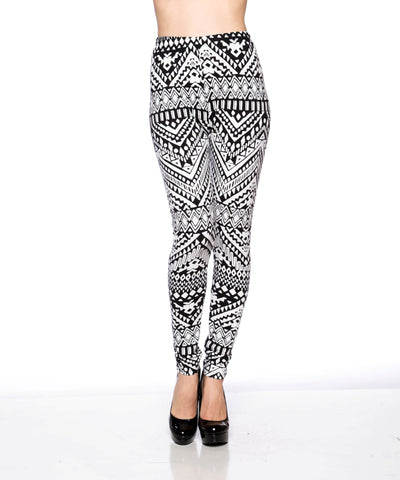 Black & White Printed Long Legging - Fashion Sense - 1