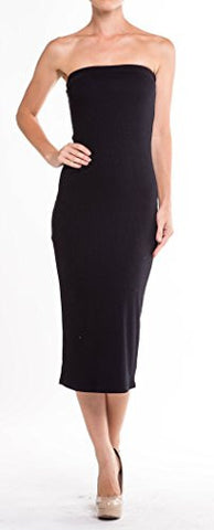 Womens Bodycon Ribbed Sweater Knit Tube Midi Dress - Fashion Sense - 1