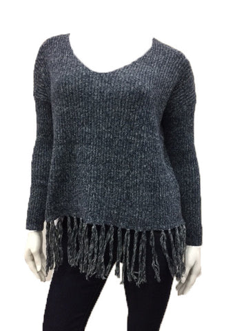 Knit Sweater Top With Fringe Detail - Fashion Sense - 1