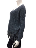 Knit Sweater Top With Fringe Detail - Fashion Sense - 2