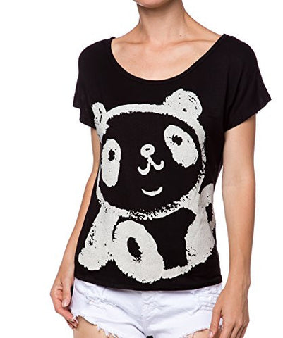 Crew Neck Graphic Printed Jersey Drop Short Sleeve Top - Fashion Sense - 1