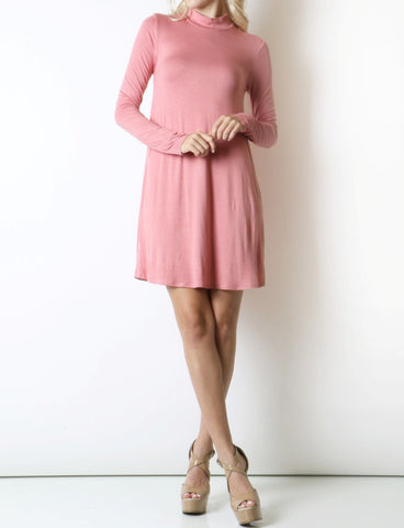 Long Sleeve Mock Neck Dress - Fashion Sense - 1